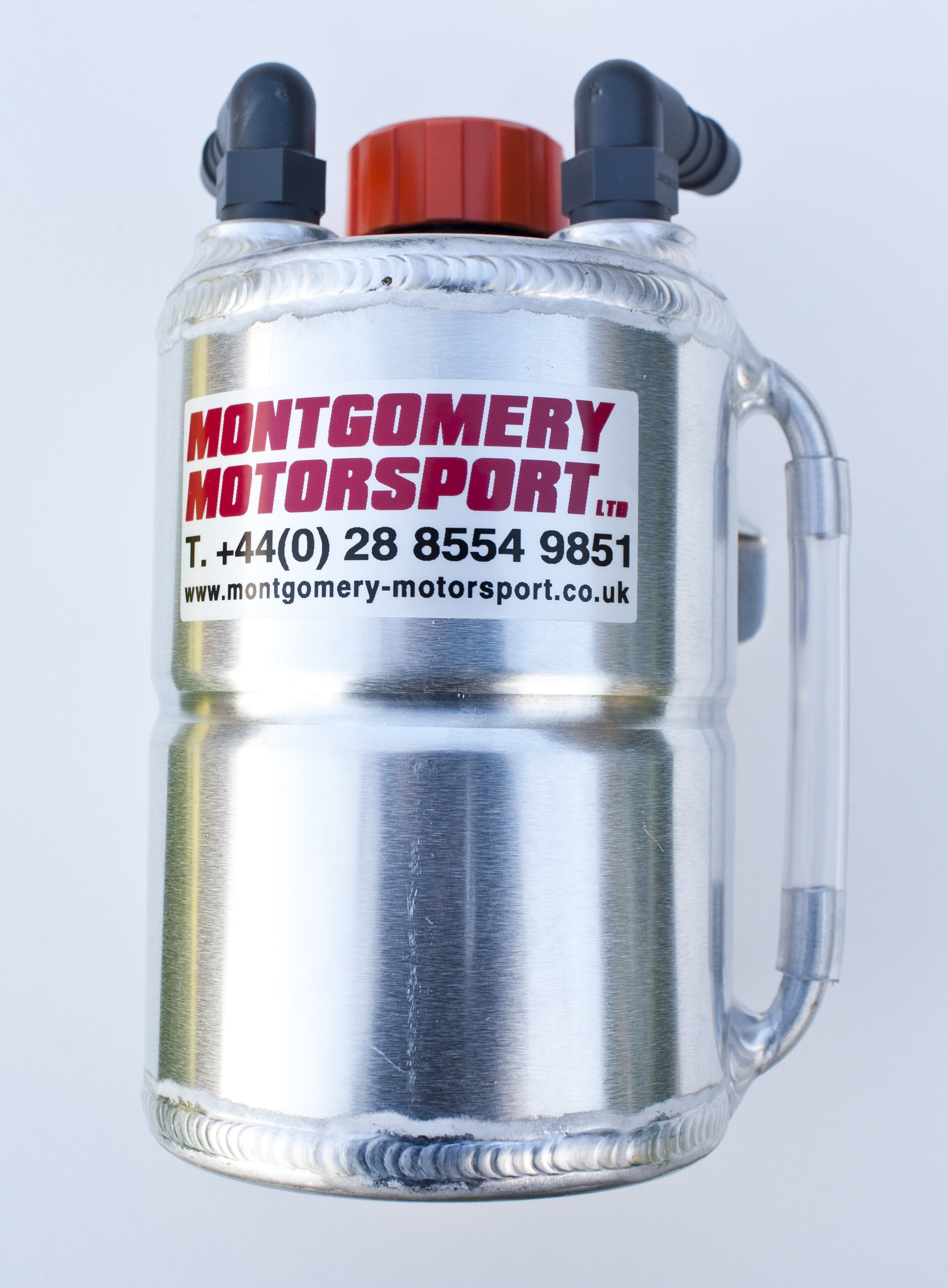 Alloy 1 litre Round Catch Tank with sight gauge and breather cap